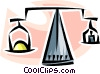 Vector Clip Art graphic  of a scale balancing precious metal