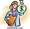 woman with a bag of money Vector Clipart picture