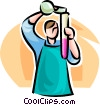 Vector Clip Art image  of a man with a test tube