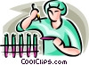 Vector Clip Art graphic  of a scientist with test tubes