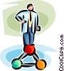 Vector Clip Art graphic  of a doctor standing on a molecule