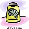 Vector Clipart image  of a brains in a jar
