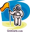 Vector Clip Art image  of an Astronaut with flag