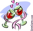 Vector Clip Art image  of a Glasses of wine