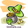 Pot of gold with clover and hat Vector Clipart image