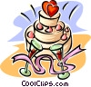 Vector Clipart picture  of a Wedding cake with champagne