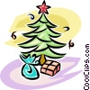 Christmas presents under a tree Vector Clipart image