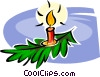 Christmas candle Vector Clipart illustration