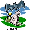 Vector Clip Art graphic  of a gravestone and bat