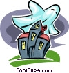 Vector Clipart illustration  of a haunted house and ghost