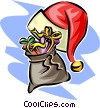 Vector Clipart graphic  of a Christmas hat and sack of toys