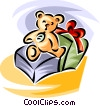 stuffed animal and present Vector Clipart illustration