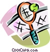 Vector Clip Art picture  of a tennis racket and ball