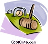 Vector Clip Art graphic  of a croquet set