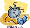 Vector Clipart illustration  of a stopwatch and whistle