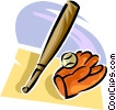 baseball bat and glove Vector Clipart illustration