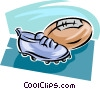 Vector Clip Art image  of a football and cleats