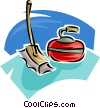 curling rock and broom Vector Clipart image