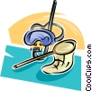 Vector Clip Art picture  of a Snorkel equipment and net