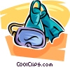 Diving mask and fins Vector Clip Art graphic