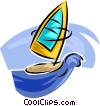 Vector Clip Art image  of a sailboard