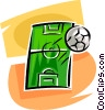 Vector Clipart illustration  of a soccer field and ball
