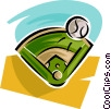 Vector Clip Art graphic  of a baseball park and ball