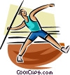 Vector Clip Art image  of a Javelin toss