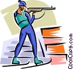 Vector Clip Art graphic  of a biathlete