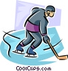 Vector Clipart graphic  of a Hockey player