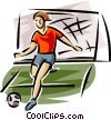 Soccer player kicking ball Vector Clipart image