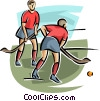 field hockey players Vector Clip Art graphic