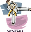 Martial artist kicking Vector Clipart graphic