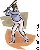 Vector Clip Art graphic  of a Baseball player at bat