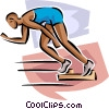 Vector Clip Art picture  of a Sprinter coming out of blocks