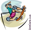 Vector Clipart graphic  of a skateboarder