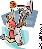 Vector Clipart image  of a Basketball players