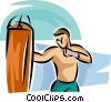 Boxer hitting heavy bag Vector Clip Art picture