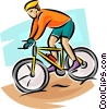 Vector Clipart picture  of a Cyclist coming down hill