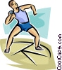 Vector Clip Art graphic  of a Man throwing shot put