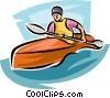 Kayaker in rapids Vector Clipart picture