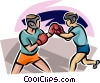 Vector Clipart graphic  of a Boxers sparring