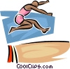 Vector Clip Art image  of a long jumper