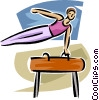 Vector Clip Art picture  of a Gymnast performing on the