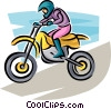 Vector Clip Art graphic  of a motorcycle rider