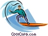 Vector Clipart picture  of a Person surfing