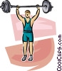 person lifting weights Vector Clip Art image