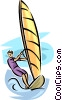 Vector Clip Art picture  of a windsurfing