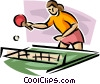 Vector Clipart graphic  of a ping pong players