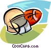 football helmet and ball Vector Clipart image